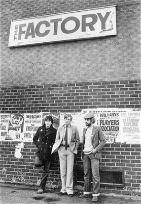 The Factory Club with Peter Saville, Tony Wilson & Alan Erasmus (Photo copyright Kevin Cummins)